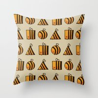 bee Throw Pillows featuring BEE DIFFERENT by Huebucket