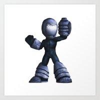 mega man Art Prints featuring Mega Man by kylecschaeffer