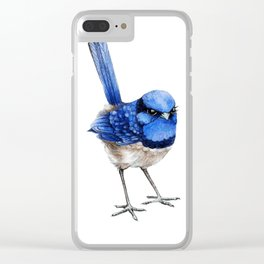 Splendid Fairy Wren, Blue on White Clear iPhone Case