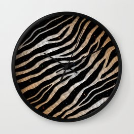 Ripped SpaceTime Stripes - Bronze/White Wall Clock