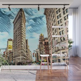 Flatiron Building NYC Landscape Painting by Jeanpaul Ferro Wall Mural