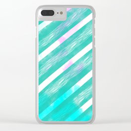 Ribbon Party - Teal and White Stripe Palette Clear iPhone Case