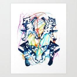 Cat Fight Art Print