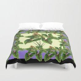 Green Tropical Botanical Foliage  Lilac-Black Art Duvet Cover