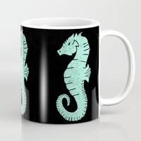 sea horse Mugs featuring SEA HORSE by Matthew Taylor Wilson