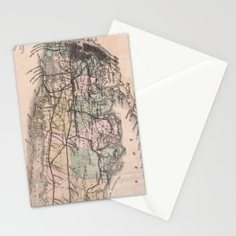 Vintage Long Island NY Railroad Map (1882) Stationery Cards