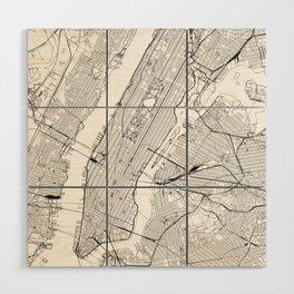 New York City White Map Wood Wall Art