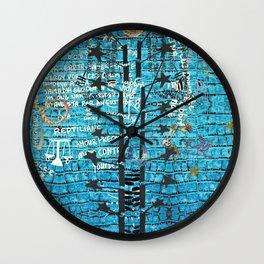 Blue chakra crocodile Wall Clock