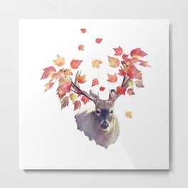 Deer male with autumn leaves . Autumn theme on white background. Metal Print