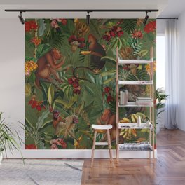 Vintage & Shabby Chic - Green Monkey Banana Jungle Wall Mural