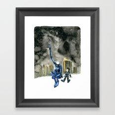 Moonbot #3: Blue Framed Art Print