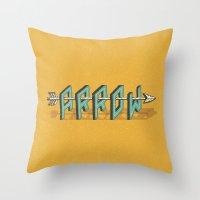 arrow Throw Pillows featuring Arrow by Pilgrim