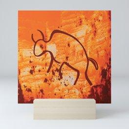 Moab Red Rock with Stylized Buffalo Petroglyph Mini Art Print