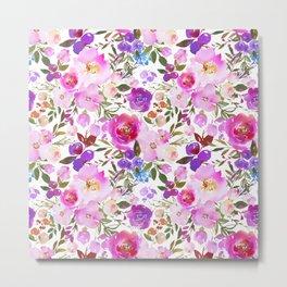 Elegant blush pink violet lavender watercolor summer floral Metal Print