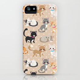 Cute Cats Pattern – Light Brown Polka Dots iPhone Case