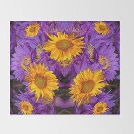 YELLOW SUNFLOWERS AMETHYST FLORALS Throw Blanket