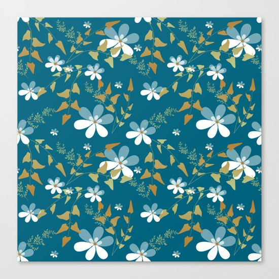 White flowers on a blue background . Canvas Print