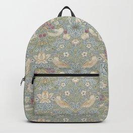 William Morris Vintage Strawberry Thief Blue Slate Vellum Backpack