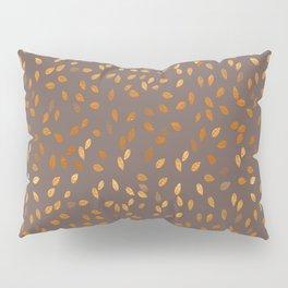 Golden Rain - Leaves on Dark Taupe Background Pillow Sham