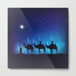 The Star of Bethlehem & Three Wisemen - 45 Metal Print