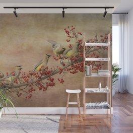 Cedar Waxwings Gathering Wall Mural