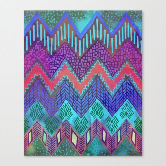 Tribal Chevron - Aqua Canvas Print