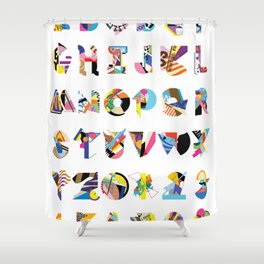 AMP Noise collage alphabet (white poster) Shower Curtain