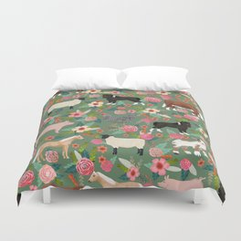 Farm gifts chickens cattle pigs cows sheep pony horses farmer homesteader Duvet Cover