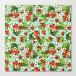 Botanical Strawberries Canvas Print