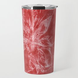 Pale Yellow Poinsettia 1 Outlined Red Travel Mug