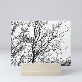Black and white branches on a foggy morning Mini Art Print