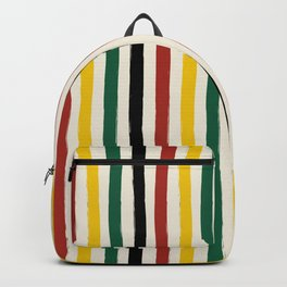 Rustic Lodge Cabana Stripes Black Red Yellow Green Backpack