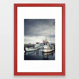 Harbored Fisher Boats Framed Art Print