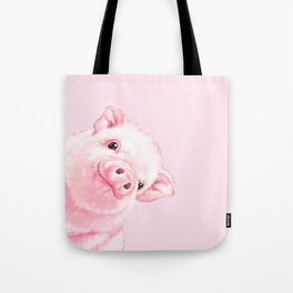 Sneaky Baby Pink Pig Tote Bag
