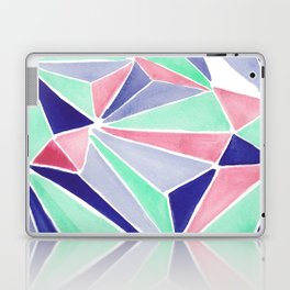 Watercolor colorful mint triangles. Watercolor geometry 3D effect. Laptop & iPad Skin