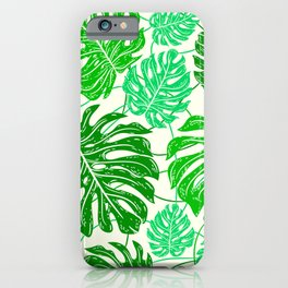 Tropical Jungle Leaves Island-Style Pattern in Gorgeous Green iPhone Case