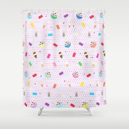 Ice Cream Collage in Purple Shower Curtain