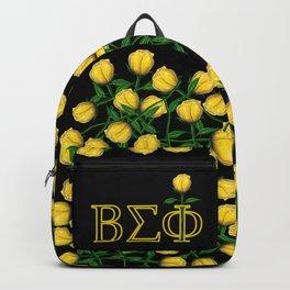 ΒΣΦ with a Long Stem Yellow Rose on Black (BSP) Backpack