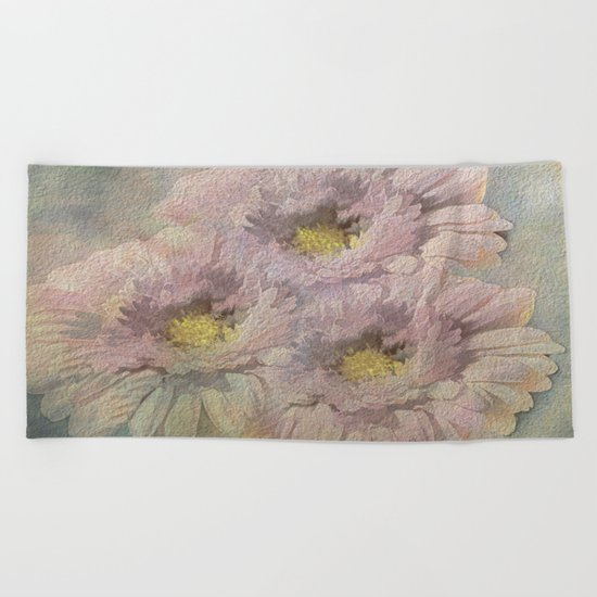 Soft Painted Daisies Abstract Beach Towel