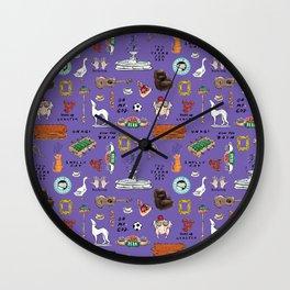 Friends TV Show Tribute Purple Pattern Wall Clock