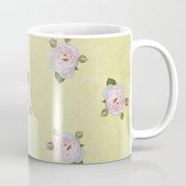 Vintage Pale Pink Roses on Yellow Coffee Mug