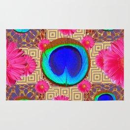 Cobalt blue & fuchsia pink Gerber flower Patterns Art Rug