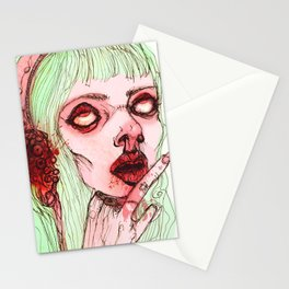 Pinky cute zombie girl Stationery Cards