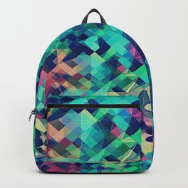 Fruity Rose - Fancy Colorful Abstraction Pattern Design (green pink blue) Backpack