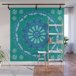 Sea Glass Sun and Flower Mosaic Wall Mural