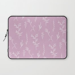 Modern spring pink lavender floral twigs hand drawn pattern Laptop Sleeve