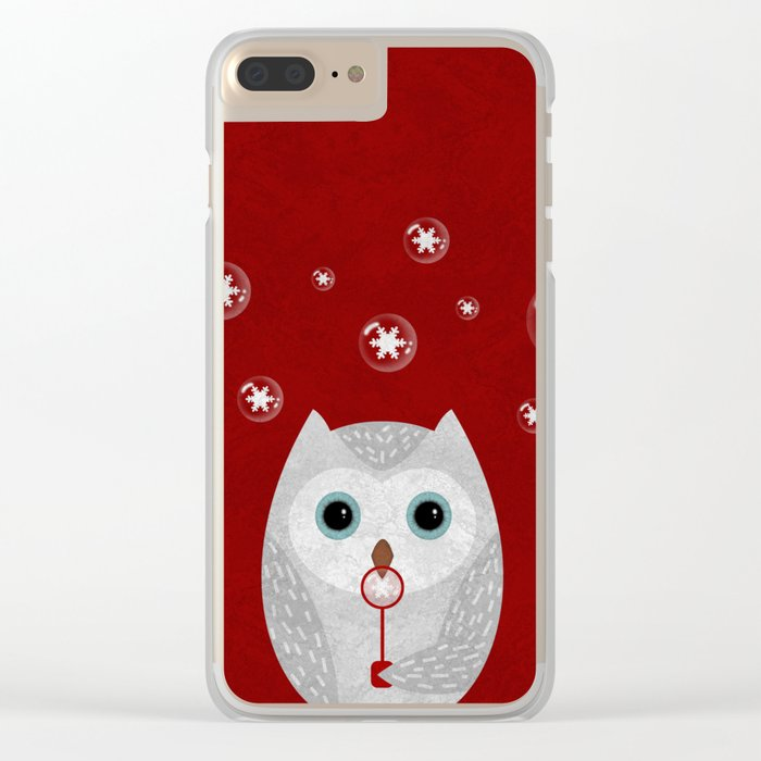 Christmas Owl Red Marble Clear iPhone Case