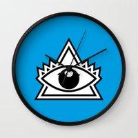 third eye Wall Clocks featuring Third Eye by Diogo Rueda