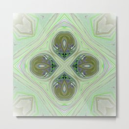 Minty Green and Pearl Diamond Abstract Metal Print
