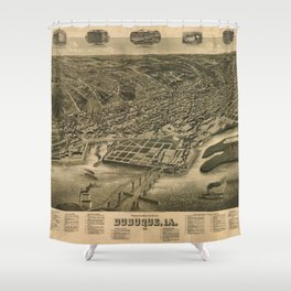 Perspective Map of Debuque, Iowa (1889) Shower Curtain